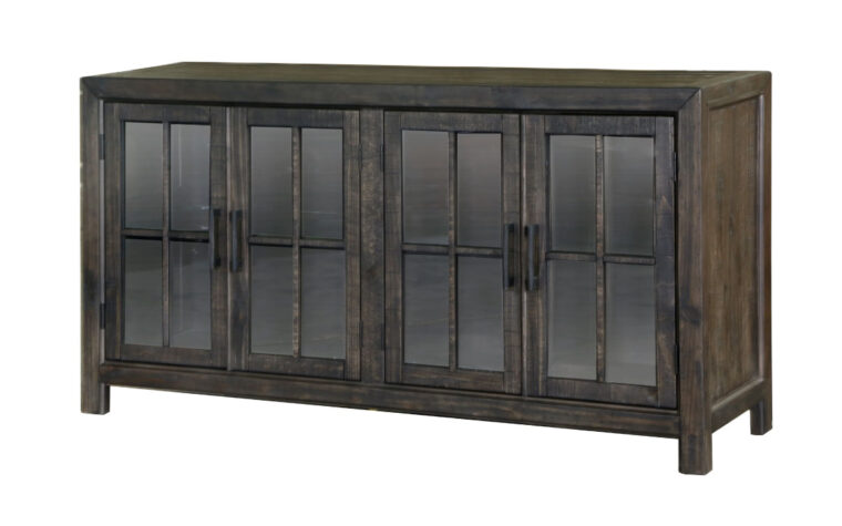 beautiful rustic bellamy buffet curio is the perfect accent piece for your countnry styled dining room with glass doors and black matte hardware