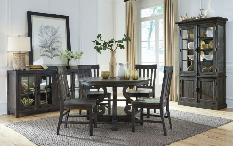 rustic bellamy dining set featuring table, chairs, buffet, and china cabinet