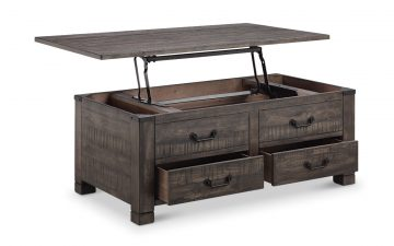 beautiful rustic weathered charcoal lift top coffee table with the top open and features extra drawers in the bottom for storage