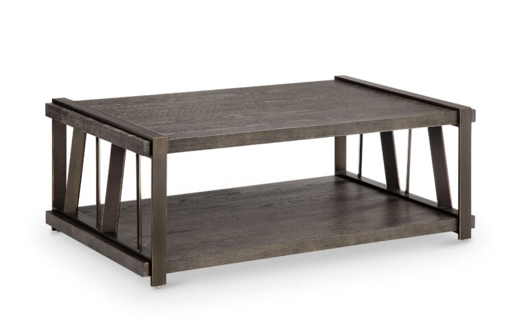 aviston cocktail table by magnussen furniture features a weathered graphite finish accented with a aged bronze metal finish looking fantastic in an industrial styled living room