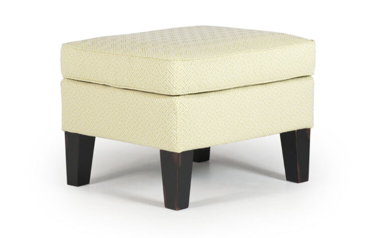0007 ottoman with many choices of wood finishes such as Antique Black, Distressed Pecan, Riverloom, Espresso
