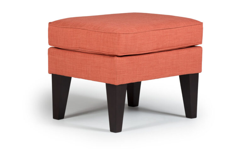 karla ottoman showcased in orange fabric with espresso wood finish will look great in a contemporary living room