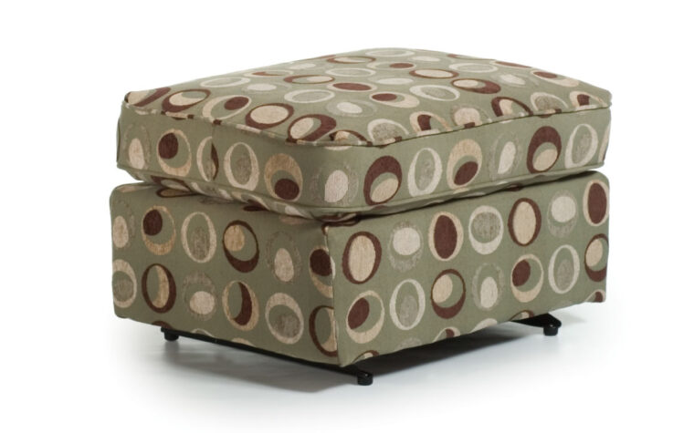 0026 glide ottoman is shown in a green fabric with brown circles and is a gliding ottoman from best home furnishings