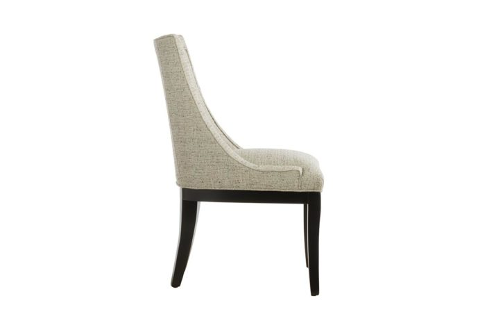 side view of 11181 dining chair in neutral fabric and espresso wood finish