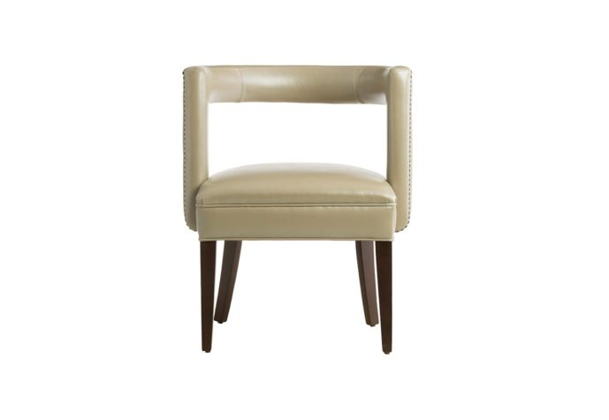 11182 accent chair in tan leather with espresso wood finish