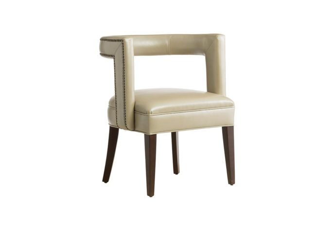 front angle of 11182 accent chair in tan leather with nail head trim