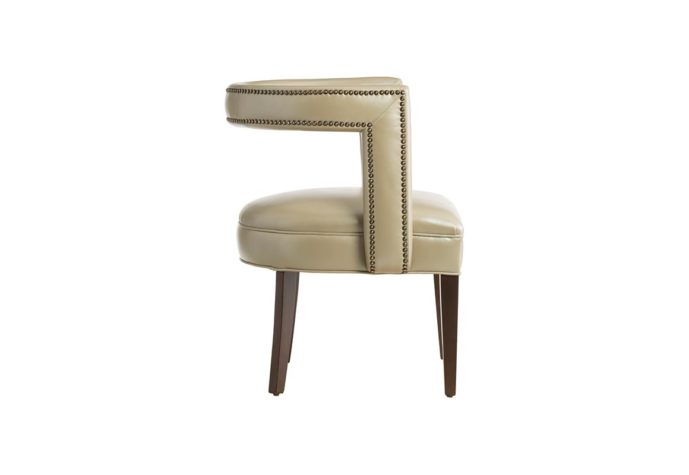 11182 accent chair by vogel in tan leather with espresso wood finish