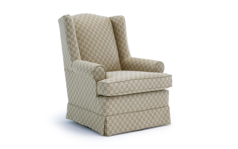 roni swivel glider is a traditional swivel glider in a tan fabric with whtie pattern and looks great in a traditional nursery