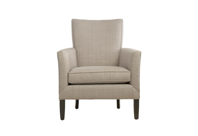11556 modern chair with white fabric and espresso wooden legs