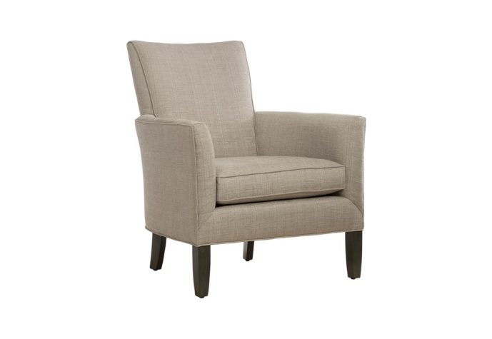 front angle of 11556 accent chair with white fabric and espresso wood finish