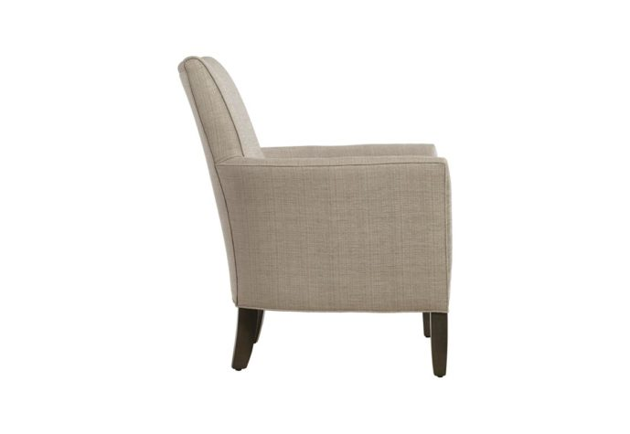 side angle of 11556 accent chair modern in design with white fabric and espresso wood finish