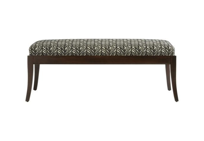 13123 bench with black zebra fabric and espresso wood finish