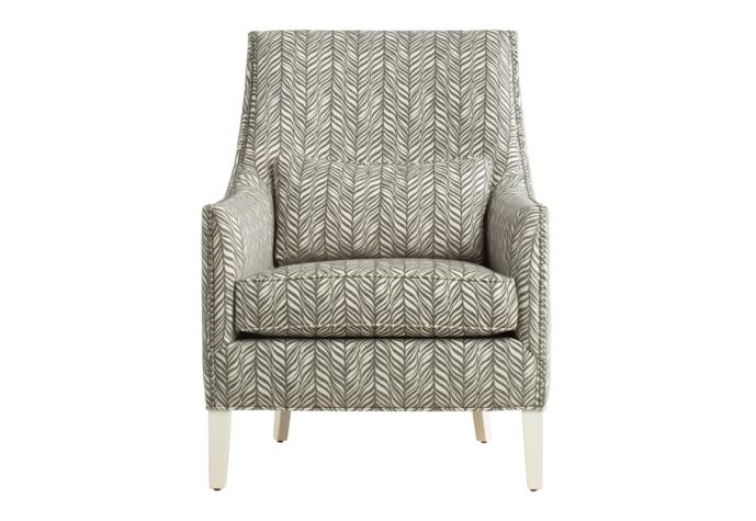 11879 traditional chair in grey fabric with white painted wood legs and nailhead trims