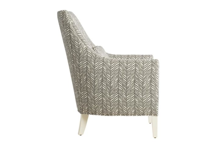 side view of 11879 traditional chair in grey fabric with white painted wood legs and nailhead trims