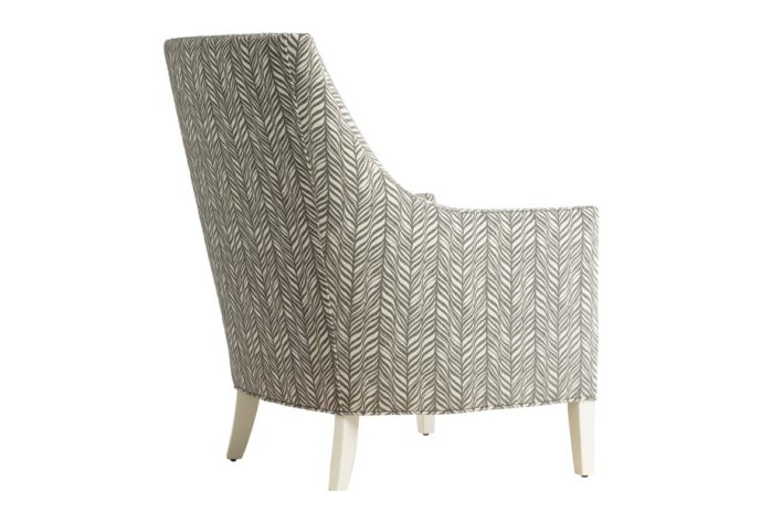 back view of 11879 traditional chair in grey fabric with white painted wood legs and nailhead trims