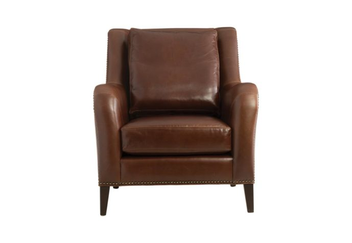 classic 11624 chair in brown leather and espresso wood finish with nailhead trim