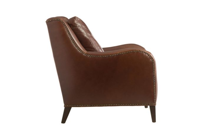 side view of classic 11624 chair in brown leather and espresso wood finish with nailhead trim