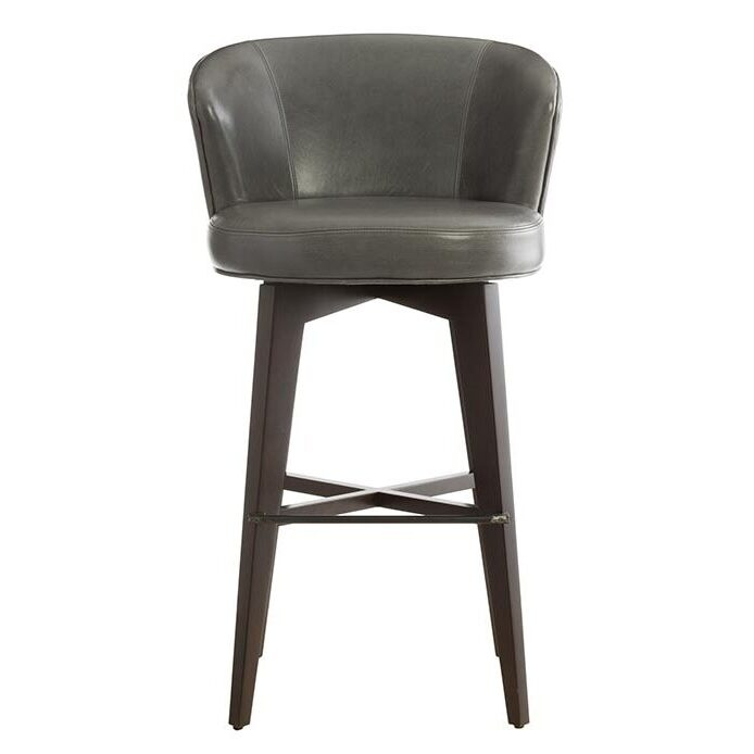 swivel grey leather bar stool with back and espresso wooden legs