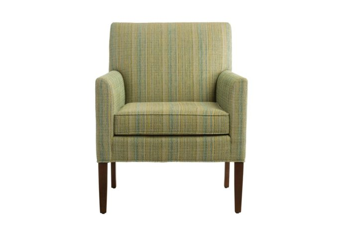 transitional chair design with wood legs and green fabric