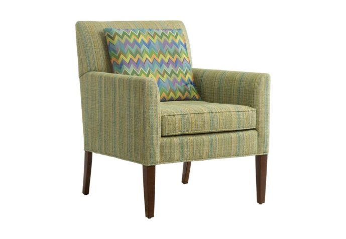 11803 chair shown side view with pillow in green fabric
