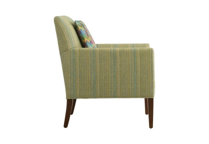 side view of 11803 in green striped fabric with wood finish