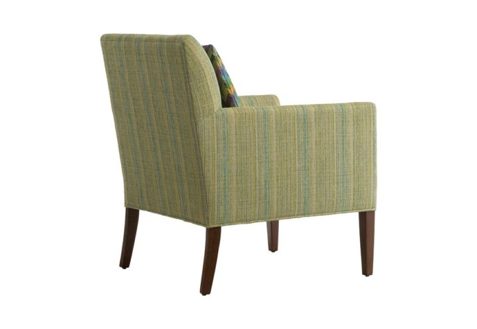 11803 rear view of custom chair in green fabric and wood finish