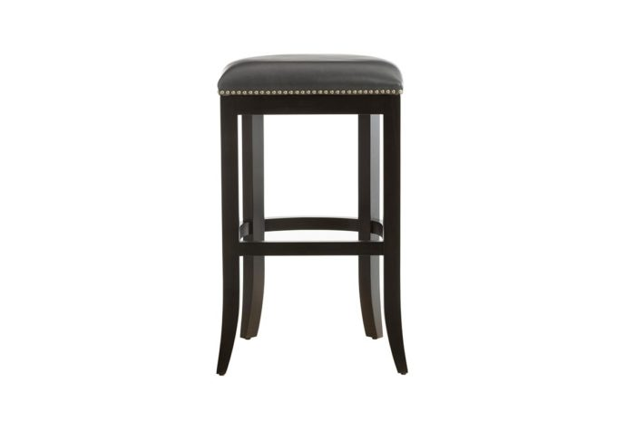 10107 bar stool with esprsso legs and grey leather top featuring nail head trim