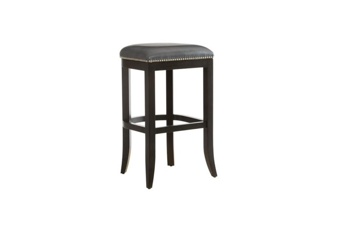 10107 bar stool in grey leather and espresso finish