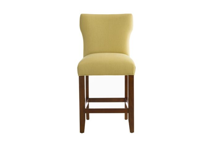 10206 counter stool in green fabric with pecan wood finish