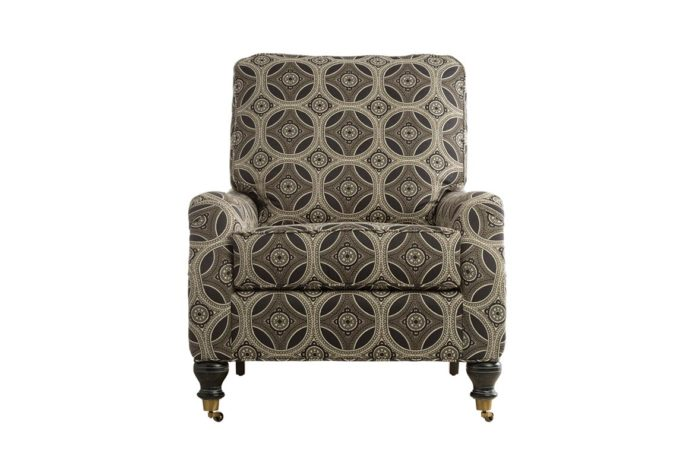 11616 chair is a traditional chair with wheels shown in a brown fabric with espresso wood finish