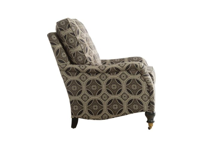 side view of 11616 chair is a traditional chair with wheels shown in a brown fabric with espresso wood finish