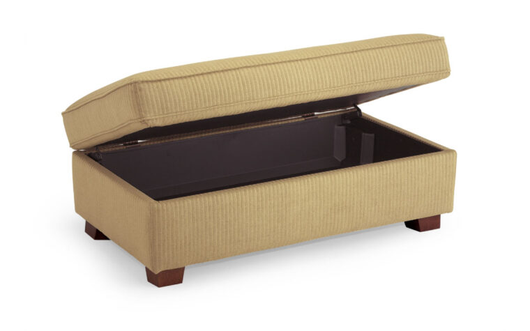 f16h storage bench is a beautiful traditional storage bench with a brown fabirc and distressed pecan legs