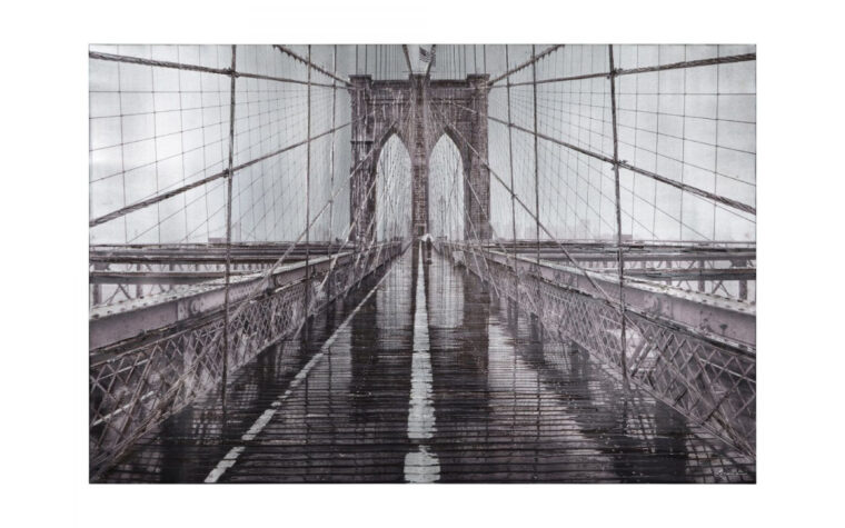 iconic is a printed and hand painted on canvas is a close up of the brooklyn bridge in new york city