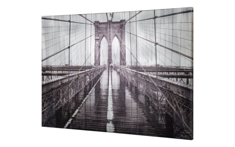 beautiful iconic wall art is a close up version of the brooklyn bridge in new york city on canvas
