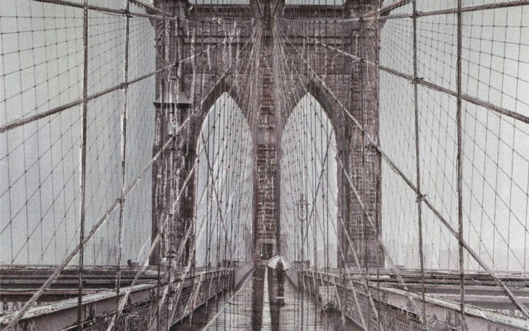close of view of brooklyn bridge on canvas is aunique and original angle that is printed and hand painted
