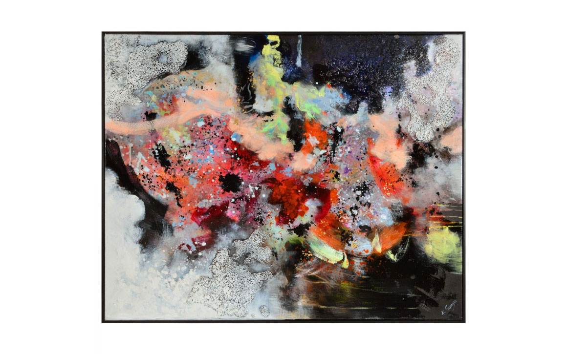 rio is a beautiful textured abstract painting with metalic highlights