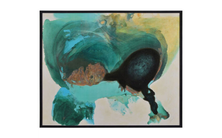 griffin is an abstract teal and gold modern painting