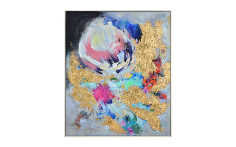 baruth gold and pink and blue textured modern painting