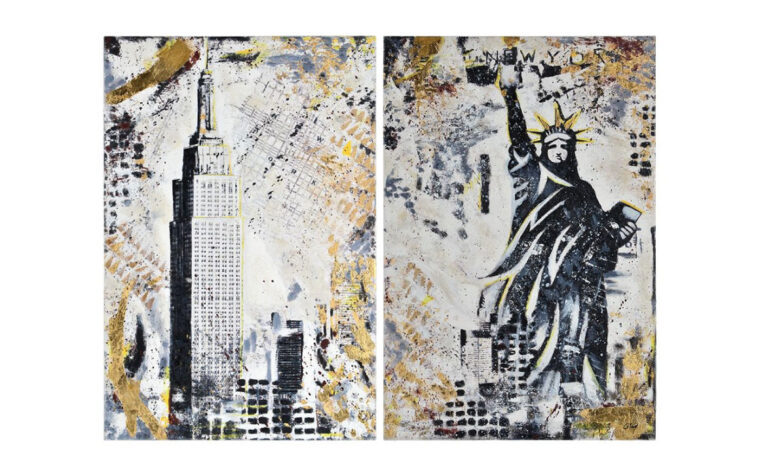 gotham modern art piece features statue of liberty in black and gold