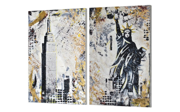 side view of gotham modern gold and black canvas with statue of liberty