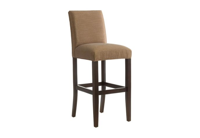 front angle of 10105 bar stool from vogel in espresso wood finish and brown fabric