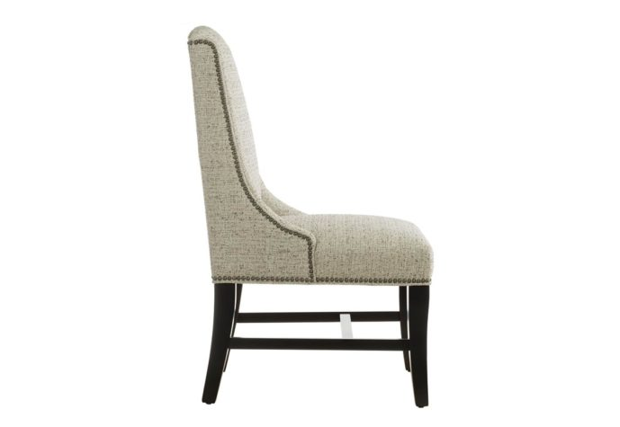 side view of 11325 dining chair shown in white fabric with espresso wood finish