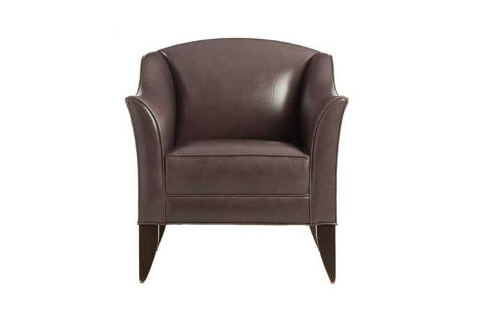 transitional in styling the 11834 in a brown leather and espresso wood legs
