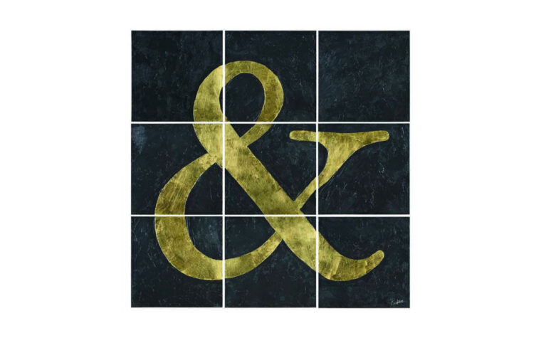 black and gold set of 9 canvases working together to create