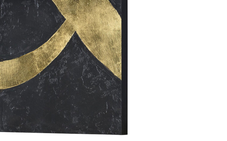 detailed side view of one canvas of kobe in black with gold leaf accents
