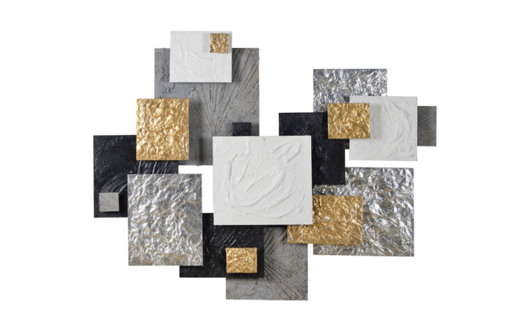 warberry is transitional in styling and is made of silver, gold, black, and grey square panels.