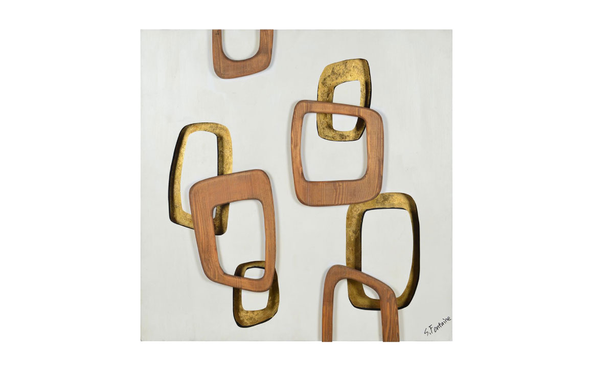 Maylie - Square Wooden Art with Gold Accent - Chervin ...