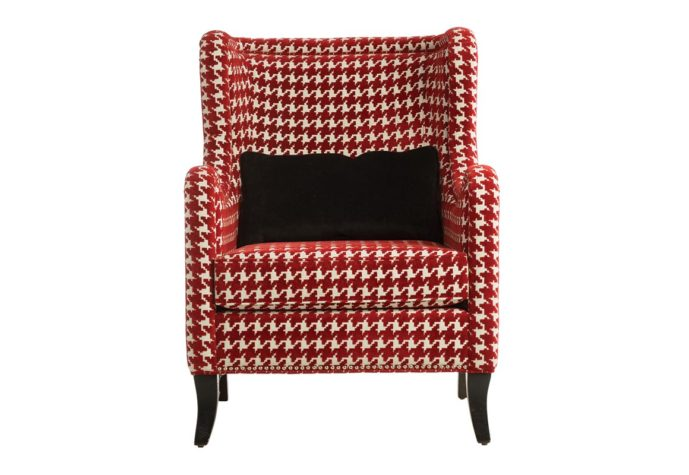 front view with pillow transitional 11790 wing chair shown in a red checked fabric with espresso wood finish