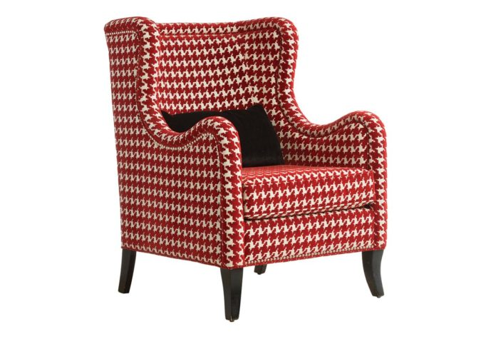 front angle with black pillow the transitional 11790 wing chair shown in a red checked fabric with espresso wood finish