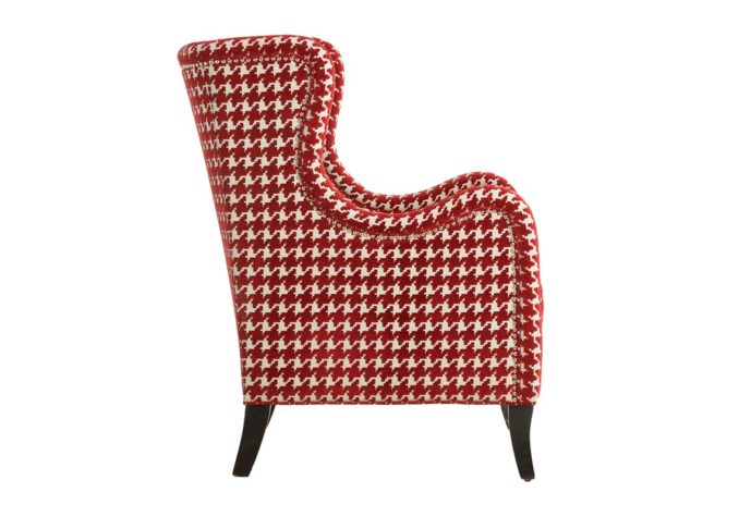 side view of transitional 11790 wing chair shown in a red checked fabric with espresso wood finish